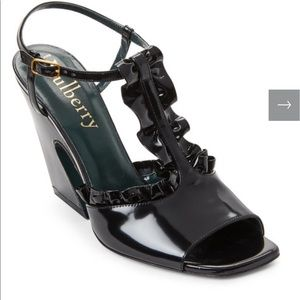 New Mulbery Ruffled Leather Flare Heel Sandals